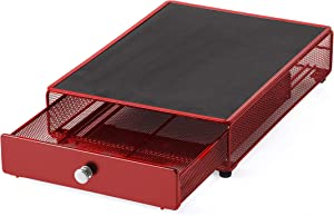 "NIFTY HOME SOLUTIONS Small Appliance Rolling Storage Drawer, 13.5""x10.5""x3"", Red"