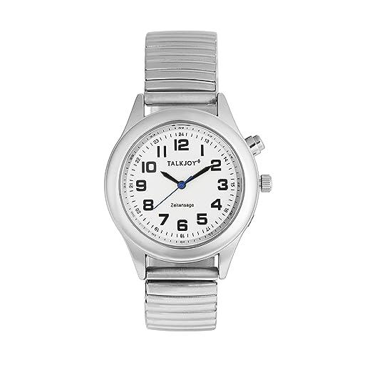 Profesional Hombre Reloj de Pulsera parlante Plata Reloj Muñeca Reloj Tiempo Calendario Avisos: Amazon.es: Relojes