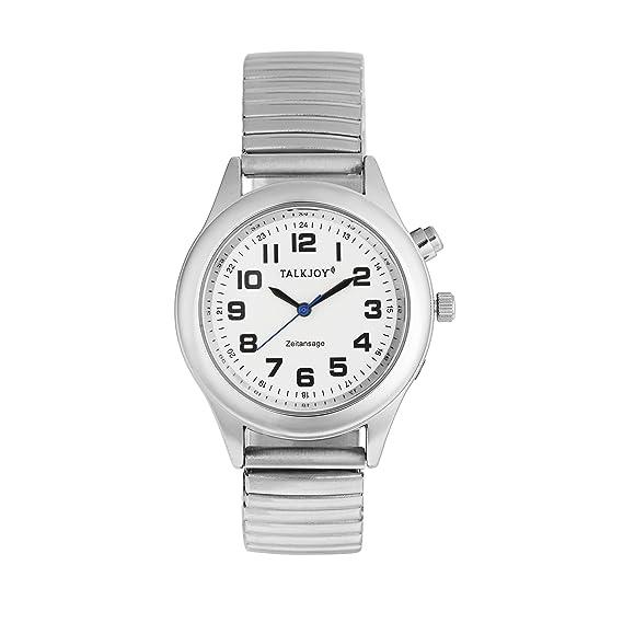915af5517a13 Profesional Hombre Reloj de Pulsera parlante Plata Reloj Muñeca Reloj  Tiempo Calendario Avisos  Amazon.es  Relojes