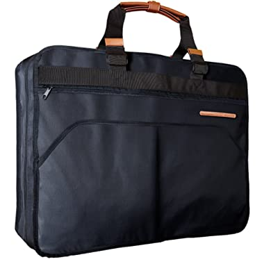 Uinvent Carry On 40  Garment Bag for Travel or Business Trips w/Features an Adjustable Strap and Multiple Organization Pockets - Built in Hanging Hook (BLACK)