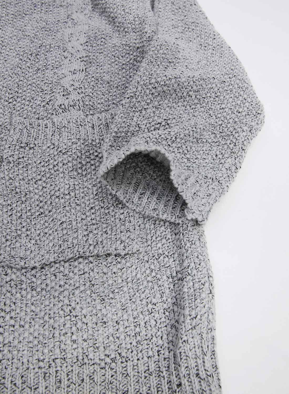 Futurino Women's Cable Twist School Wear Boyfriend Pocket Open Front Cardigan (One Size, Grey) by Futurino (Image #7)