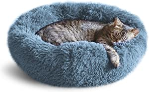 Whiskers & Friends Cat Dog Bed Calming Soft Plush Faux Fur Shag Donut Comfort Cuddler Improve Sleep - Up to 25 Pounds - Gentle Delicate Wash, Air Delicate Dry (Navy-Gray)