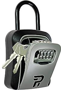 Key Lock Box for Outside - Rudy Run Portable Combination Lockbox for House Keys - Key Hiders to Hide a Key Outside - Waterproof Key Safe Storage Lock Box