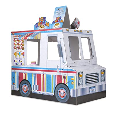 Melissa & Doug Food Truck Indoor Playhouse (Corrugate Ice Cream and Barbecue Truck, Nearly 4 Feet Long, Great Gift for Girls and Boys - Best for 3, 4, and 5 Year Olds): Toys & Games