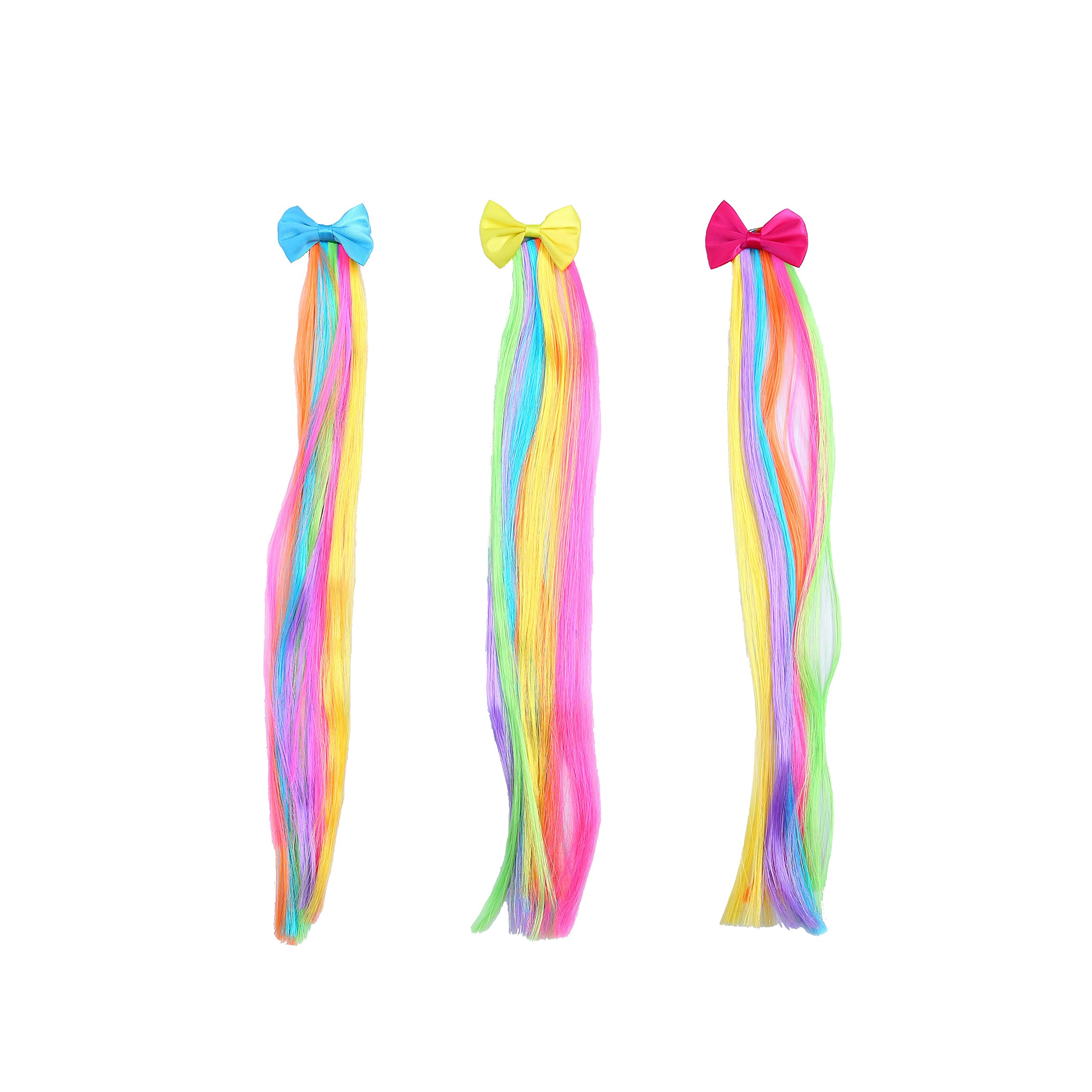 Bevan 3 pieces Bow Hair Clips With Rainbow Wigs Barrettes For Teen Girls Kids Toddlers Party or Celebrations Hair Decoration Accessories,Blue,Yellow,Fuchsia,Mixed 3 Colors