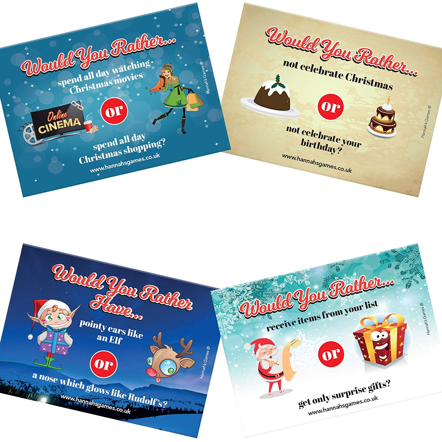 WOULD YOU RATHER CHRISTMAS GAMES 20 A6 Postcard sized stocking
