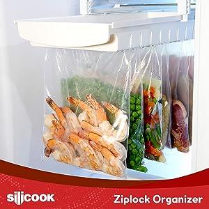 HAIM Living Ziploc Bag Organizer for Fridge Freezer Refrigerator - Best Solution to Clean and Organize Zipper Bag Tray Ziplock Holder Rack Hanger