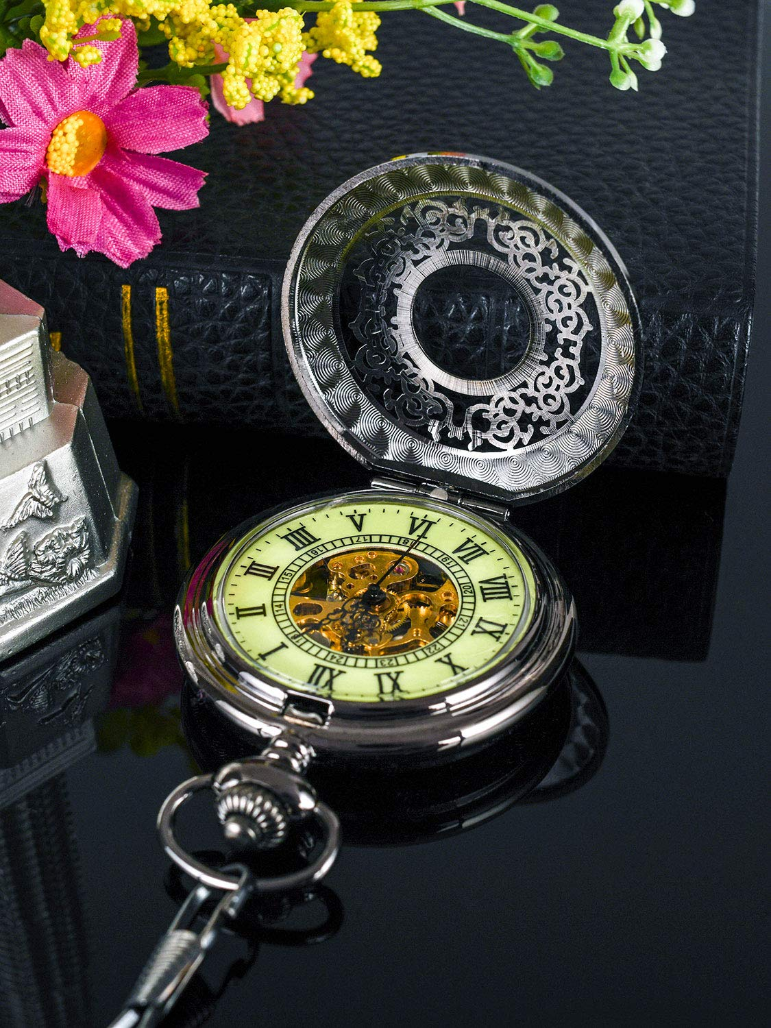 Steampunk Vintage Luminous Roman Letters Skeleton Mechanical Pocket Watch with Chain 5