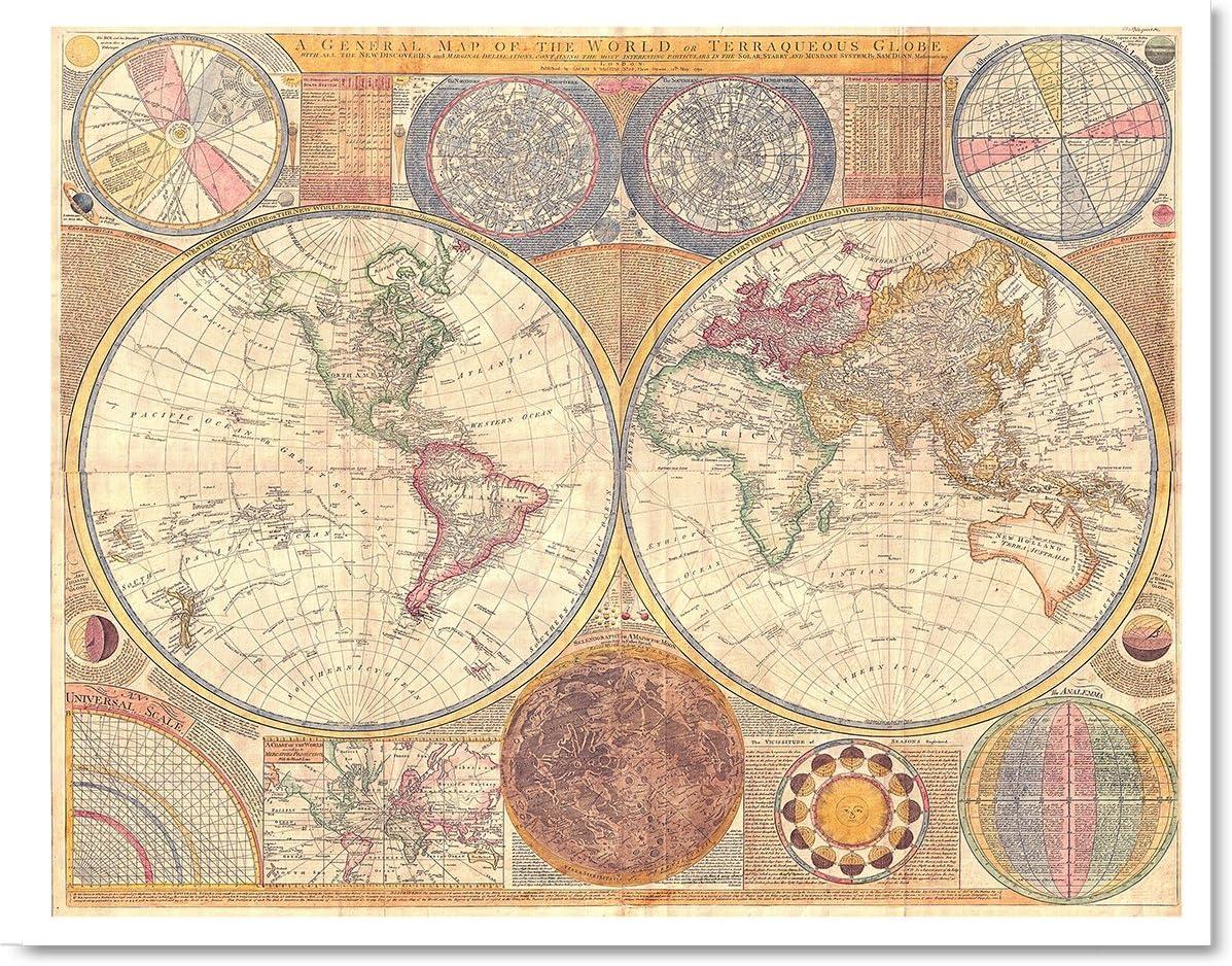 Gabby's Choice Antique map of The World Art Print - 11 x 14 Unframed Art Print - Great Vintage Home Decor - 1794 Samuel Dunn Antique World Map