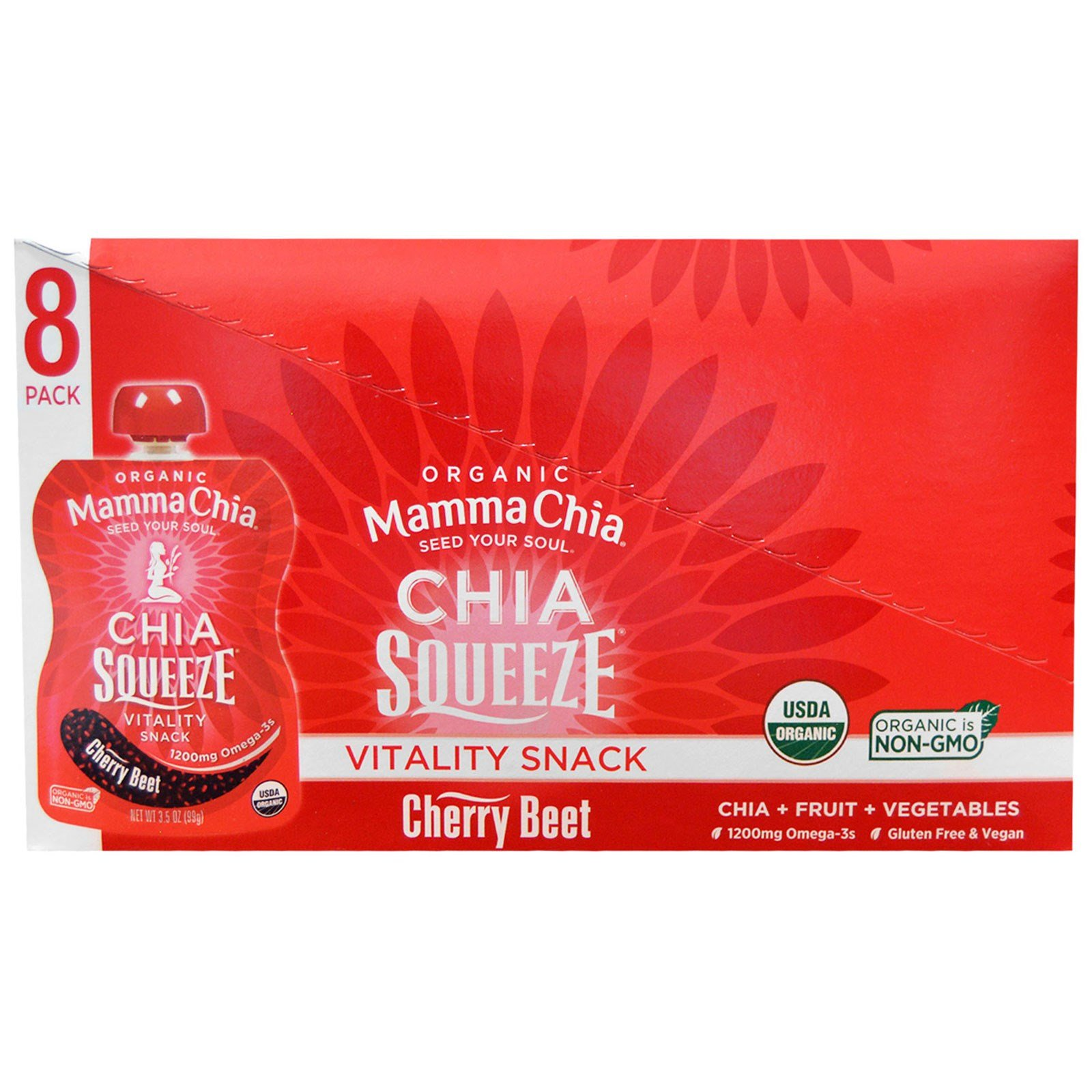 Mamma Chia Organic Chia Squeeze Vitality Snack Cherry Beet 8 Pouches 3 5 oz 99 g Each