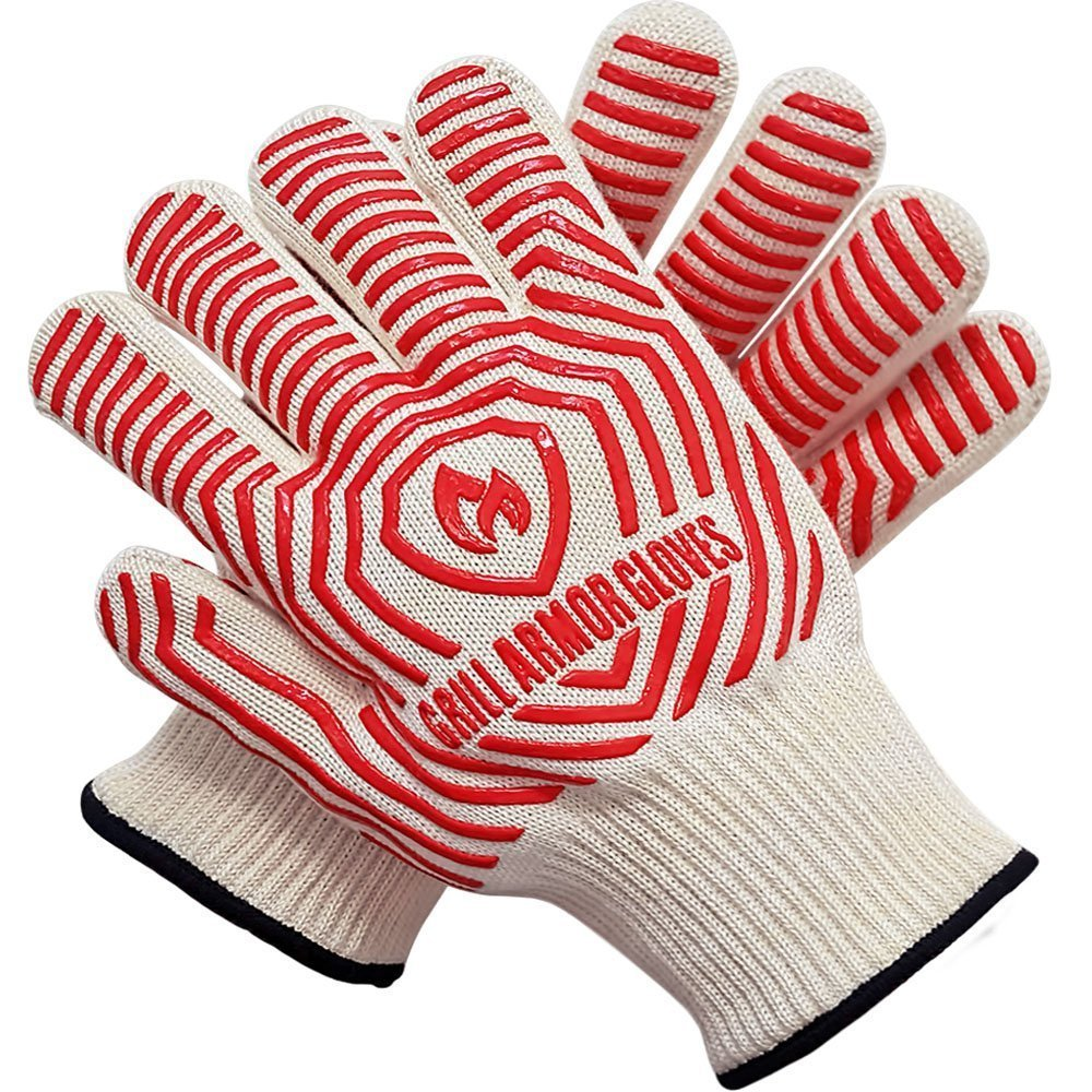 Grill Armor Extreme Heat Resistant Oven Gloves - EN407 Certified 932F - Cooking Gloves for BBQ, Grilling, Baking, Red