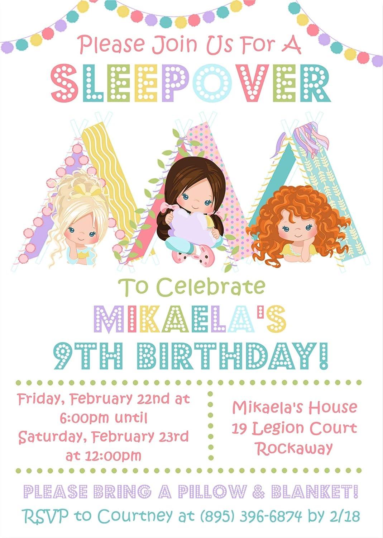 Girls Sleepover Birthday Party Invitations Slumber Supplies Pajama