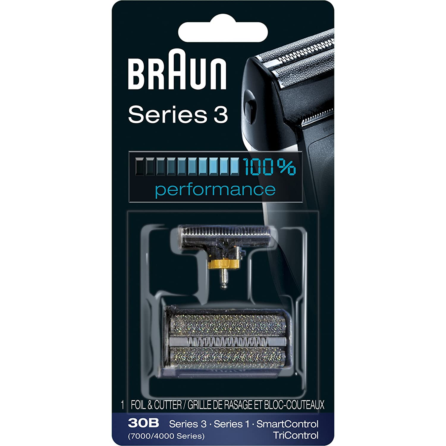 Braun Series 3 30B Foil & Cutter Replacement Head,Compatible with Previous Generation SmartControl, TriControl, 7000/4000 shavers, and Series 3 (340s)