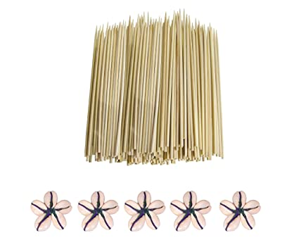 Vardhman Bamboo Skewers 8-inch Barbecue Sticks (Beige) - Set of 200 Craft Materials at amazon