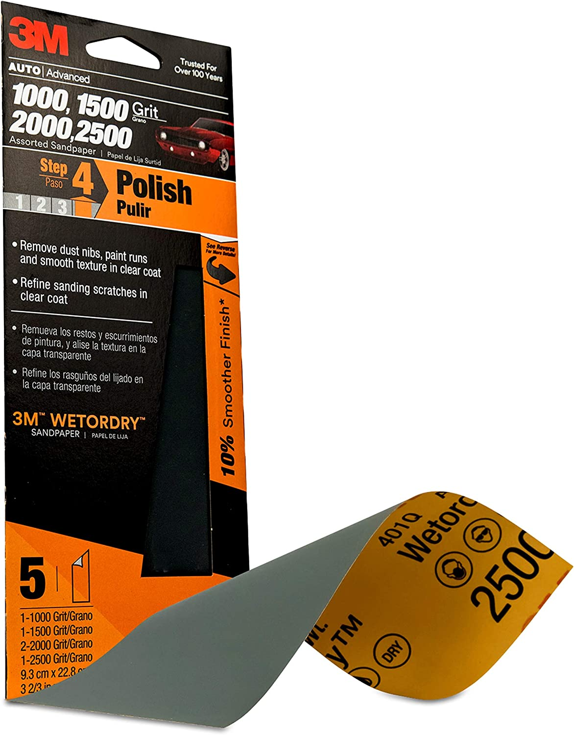 x 9 in 10 Sheets-Pack 2000 Grit Sandpaper 3M 3-2//3 in