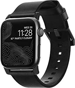 Nomad Modern Strap for Apple Watch 44mm/42mm | Black Horween Leather | Black Hardware