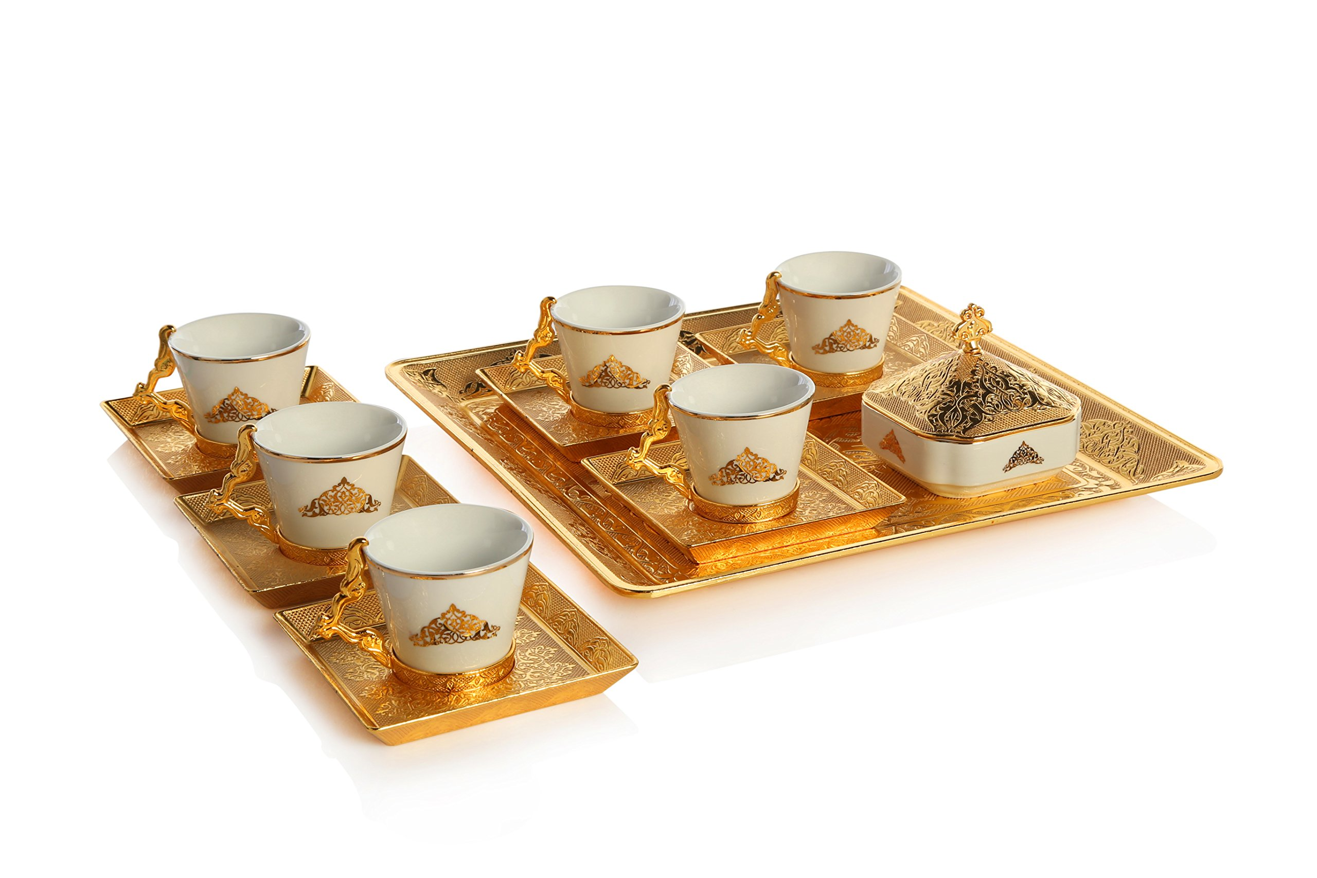 Gold Case Gold Plated Turkish, Arabic, Greek and Espresso Coffee Set for 6 - Made in Turkey - 21 Pieced Set for 6, Gold by Gold Case (Image #3)