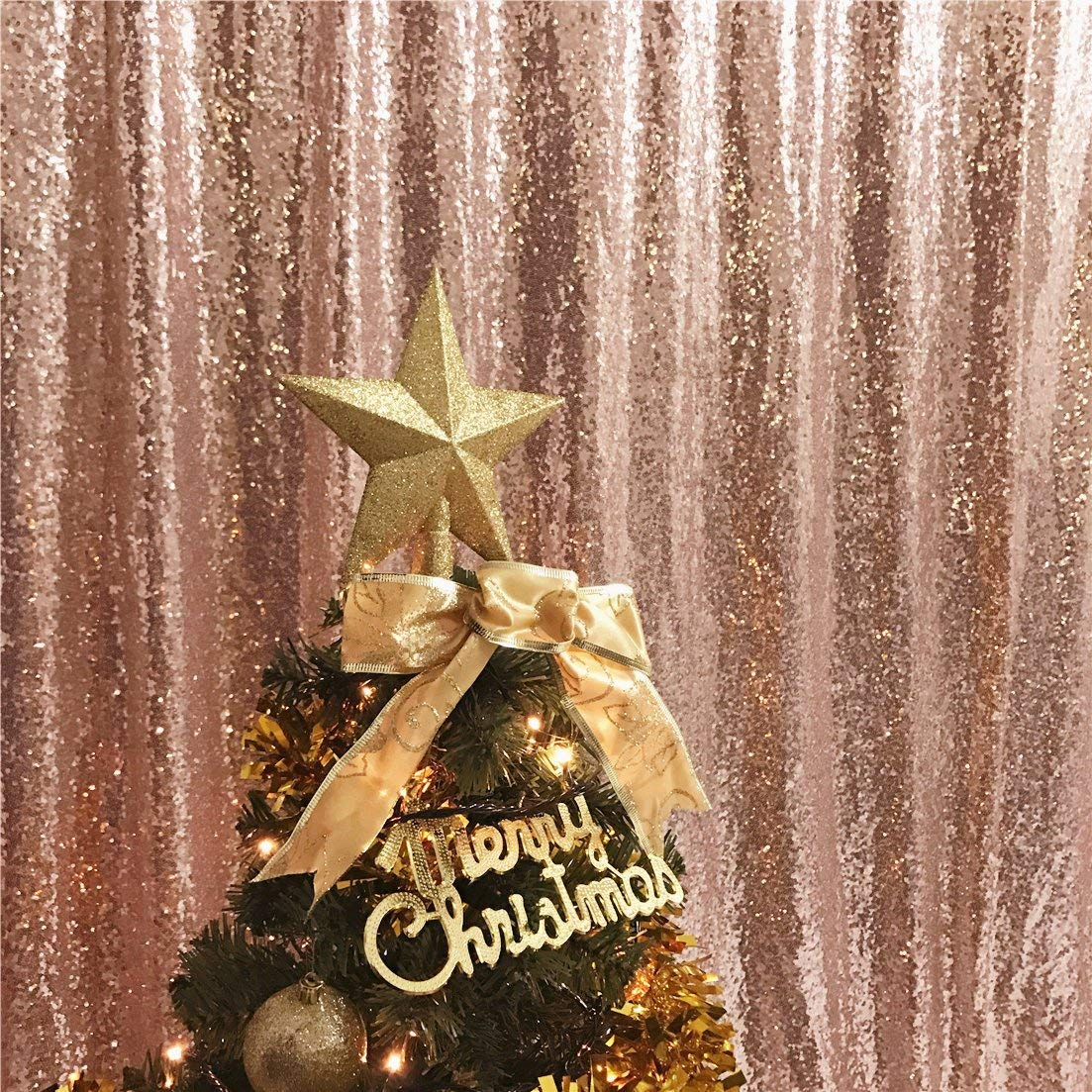 TRLYC 5 by 7Ft Sparkly pink gold Christmas Sequin Backdrop Curtain for Wedding Party