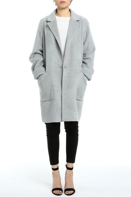 DP Mode lang Damen Wollmantel Velvet Wolle Grau mit Knopf DP6311