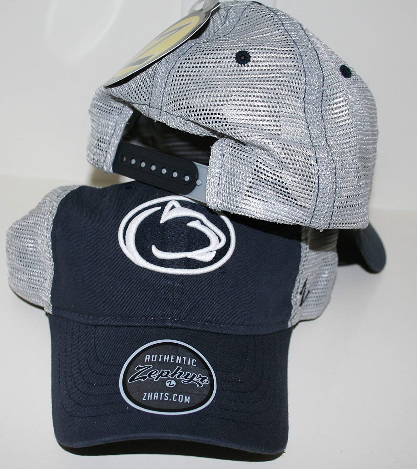 Zephyr Penn State University PSU Nittany Lions Top Dark Navy Blue Wash Cotton Nimbus Adult Mens//Womens//Youth Adjustable Baseball Mesh Trucker Hat//Cap