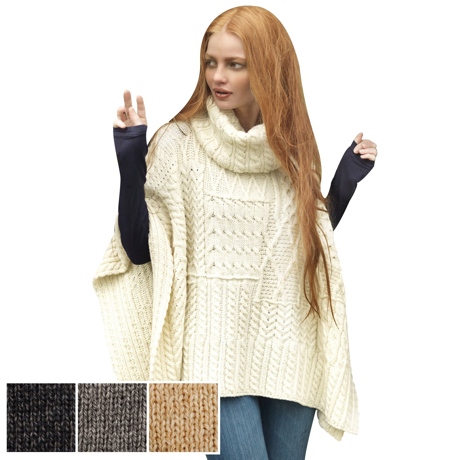 Carraig Donn 100% Irish Merino Wool Patchwork Aran Cowl Cape.