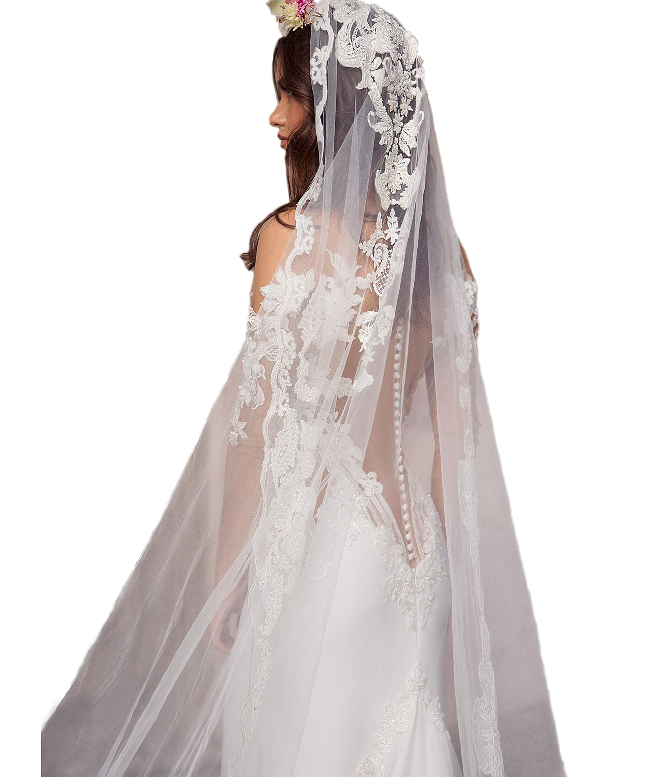 Passat Ivory 1T Long Cathedral Beads Embroidered Floral Garland Lace Bridal Veils And Headpieces H73