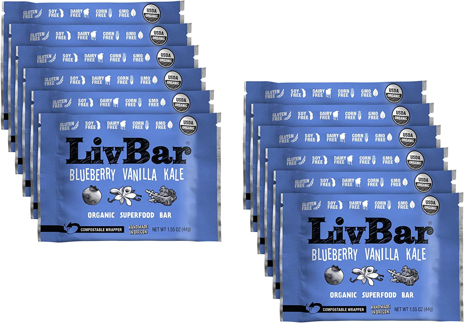 LivBar - Blueberry Vanilla Kale Organic Superfood Nutrition Bar - USDA Certified - Gluten Free, Peanut Free, Soy Free, Dairy Free, Protein Snack Bars with Compostable Wrapper - 12 Pack