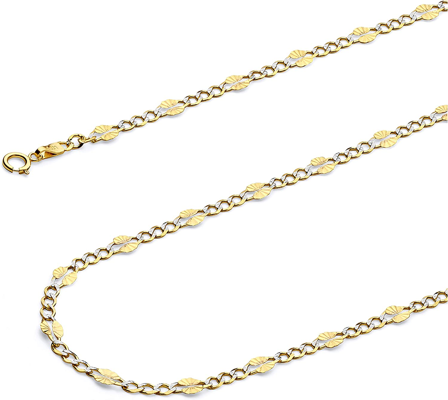 Wellingsale 14k Yellow Gold Polished Solid 3.5mm Stamp Figaro 3+1 White Pave Diamond Cut Diamond Cut Chain Necklace