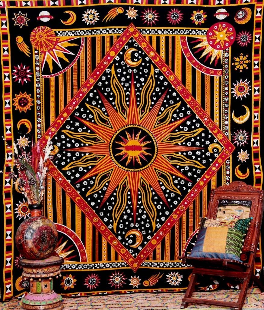 Craftozone Indian sun moon Diamond wall hanging hippy tribal tapestry wall throw by Blue (220x140 cms)