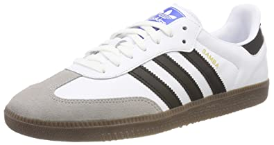 adidas Mens Samba Leather Suede White Black Granite Trainers 7.5 US