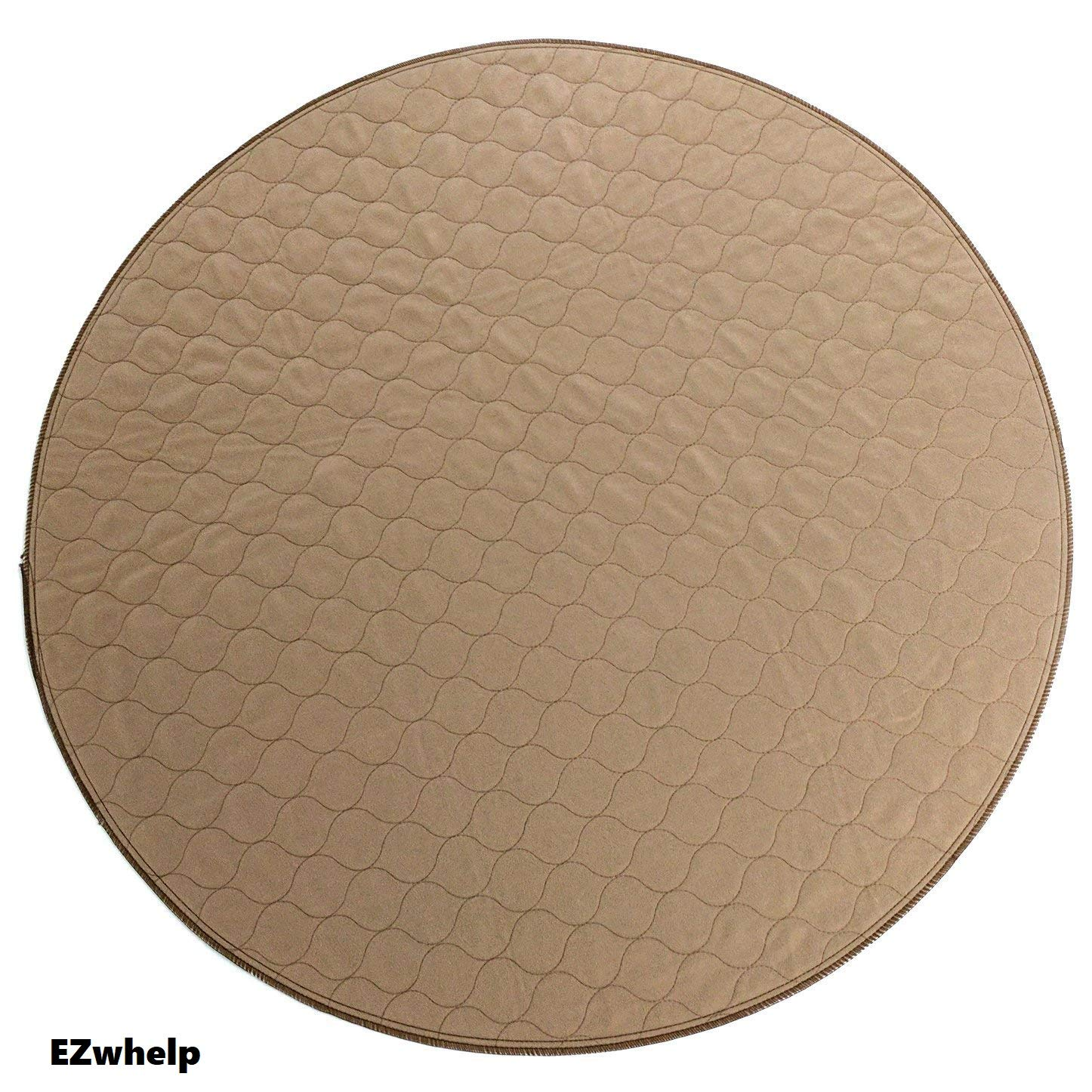 EZwhelp 48'' (Round, Circular Shape) Machine Washable, Reusable Pee Pad/Quilted, Fast Absorbing Dog Whelping Pad/Waterproof Puppy Training Pad/Housebreaking Absorption Pads by EZwhelp