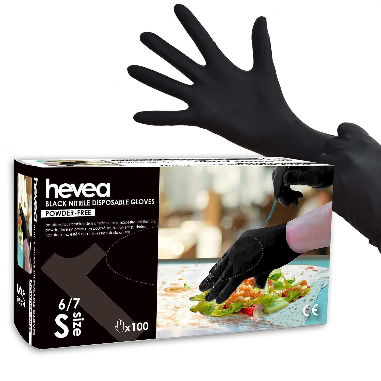 Guantes de nitrilo desechables Paquete de 5 cajas de 100 guantes cada una Sin l/átex ni talco Color: azul Hevea grande Talla: L