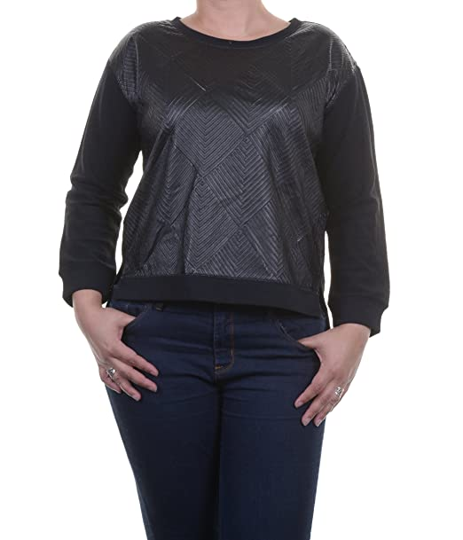 cf7d8df77c Sanctuary Womens Faux Leather Long Sleeves Pullover Sweater Black XS ...