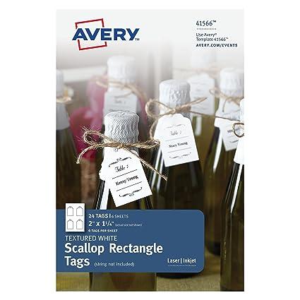 amazon com avery textured white scallop rectangle tags 2 x 1 1 4