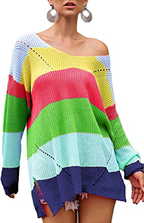 Fashion Men/'s Crew necK Pullover Rainbow Striped Sweater Jumper Knitted Tops Hot