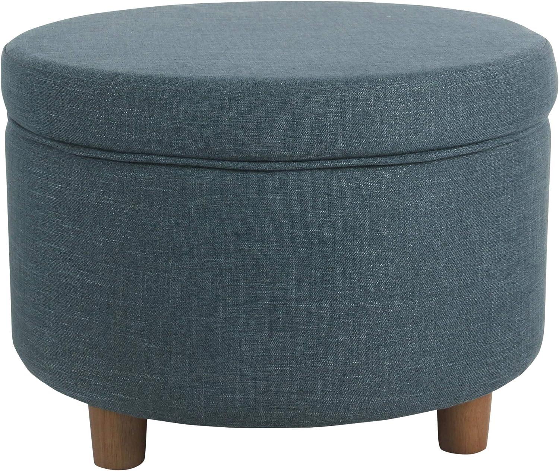 HomePop Round Upholstered Storage Ottoman, Teal Linen