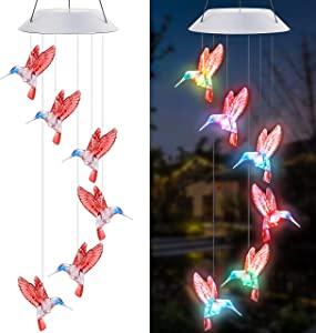 YOUYUAN 1 Pack Hummingbird Wind Chimes Solar Powered LED Automatic Color Changing Mobile Wind Chimes Outdoor Hanging Patio Light for Home, Porch, Deck, Garden Party Decoration,Red