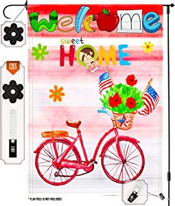 Small Garden Flag for Outside with Free Anti-Wind Clip and Stopper - Welcome Bicycle Garden Flag 12 X 18 - Double Sided Yard Flags - Decorative Flags for All Seasons - Jolly Yard and Garden Décor