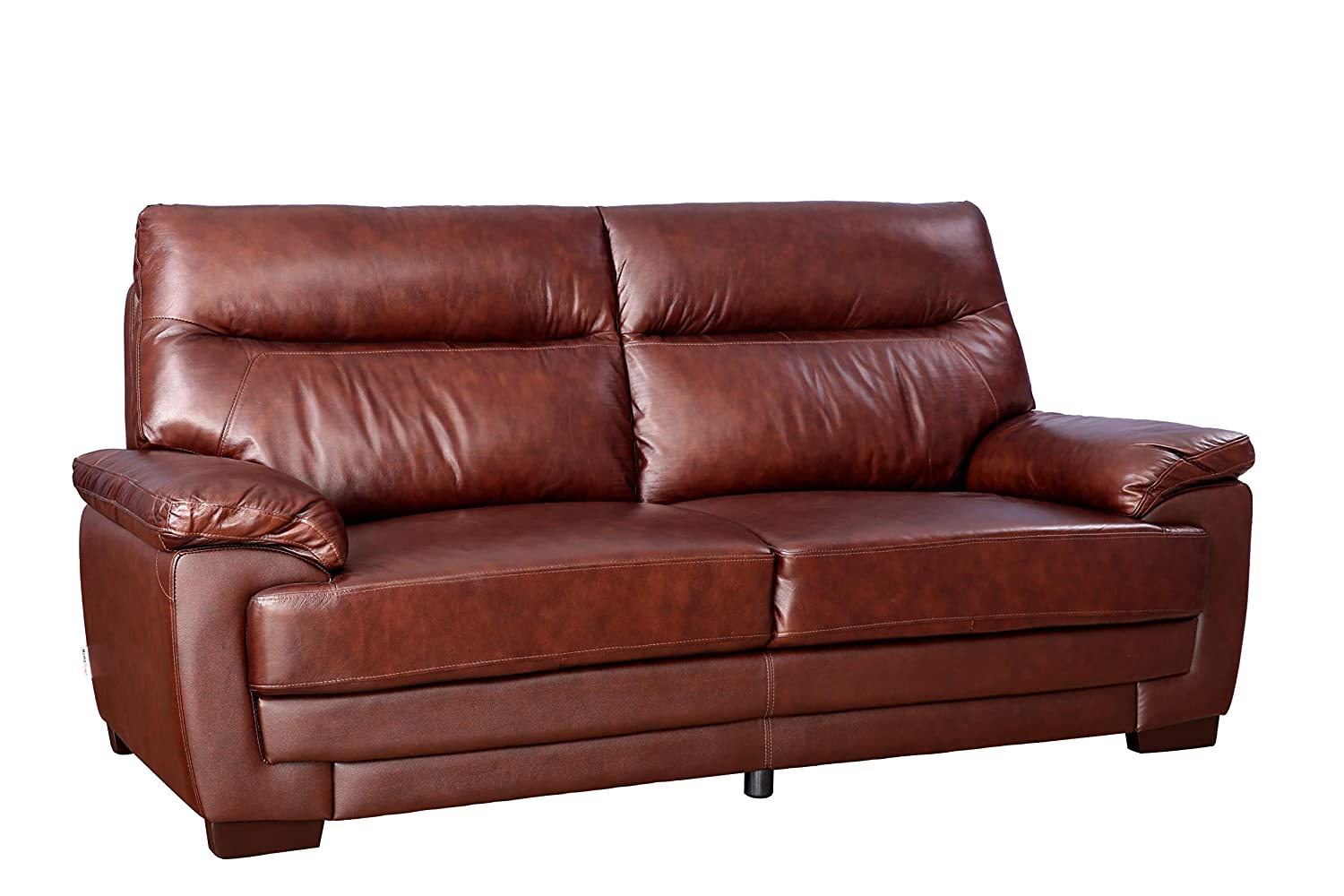 Hometown Jefferson Half Leather Solid Wood Three Seater Sofa In