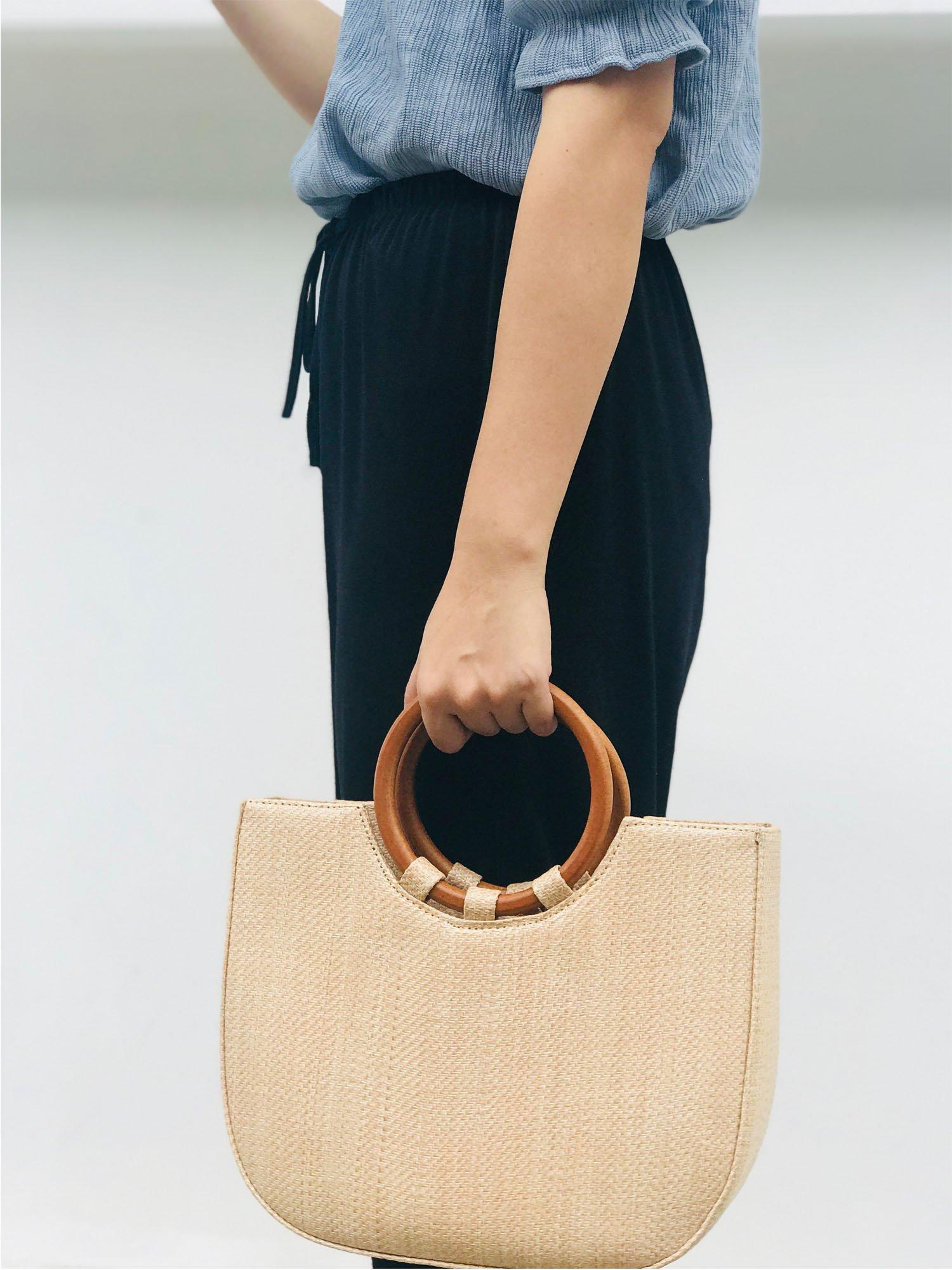 Youndcc Women Woven Straw Bag Rattan Bag Tote Bag Shoulder Bag Crossbody Bag Handbag Beach Bag, Handwoven/Crochet/Round Handle by Youndcc (Image #6)