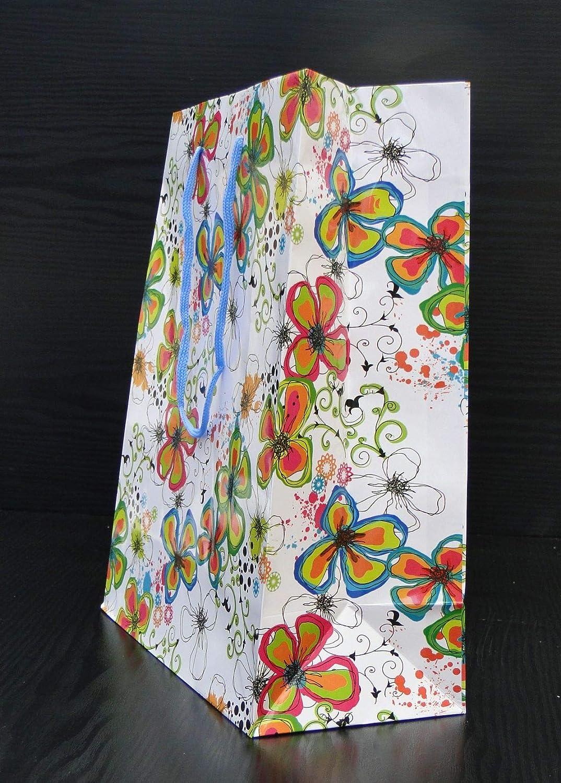 160 g // m2 12 Un Assortito Carta Confezione di Risparmio Sacchetti Regalo Bagland,Fiori 9 33 cm x 45 cm x 10 cm