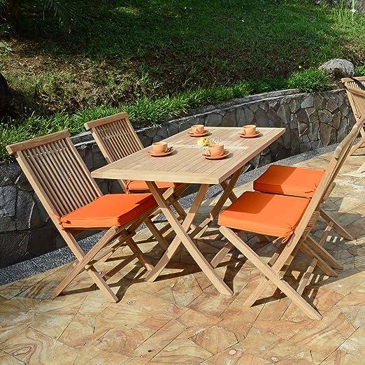 Table Pliante rectangulaire en Teck Massif 120x70 cm ...