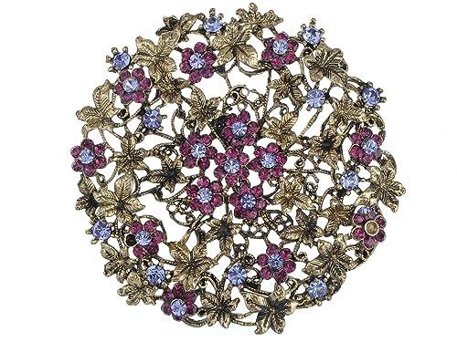e47d94af44afa Alilang Womens Antique Golden Tone Purple Rhinestones Vintage Floral Flower  Wheel Brooch Pin