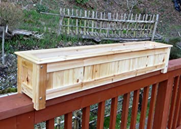 Amazon Com Cedar Wood Deck Rail Top Planter Box 60 W X 9 H