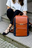 P.MAI 15-Inch Executive Leather Laptop Backpack for Women with Wristlet in Cognac I Notebook Computer Backpack Ideal for Business, Travel, Work