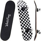 WhiteFang Skateboards 31 Inch Complete Skateboard Double Kick Skate Board 7 Layer Canadian Maple Deck Skateboard for…