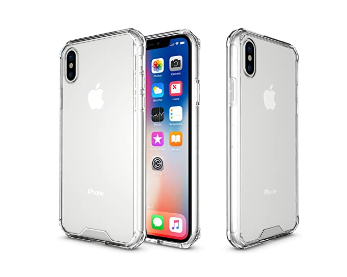 best website 5359b db6d8 iPhone X Case, Crystal Clear Shock Absorption Technology Bumper Transparent  TPU+Acrylic Cover Case for iPhone X- (Clear)