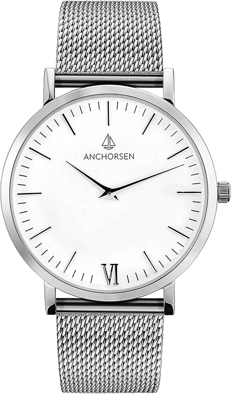 ANCHORSEN Big Adventure Maritime Armbanduhr - Farbe Silber - Schweizer Uhrwerk - Weißes Ziffernblatt - Silbernes