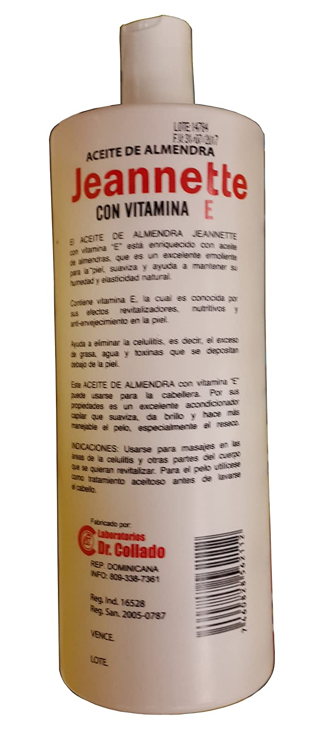 Amazon.com : Jeannette Almond Oil (1 Litro) (33 Onz) Vitamin E (Aceite De Almendra). : Beauty