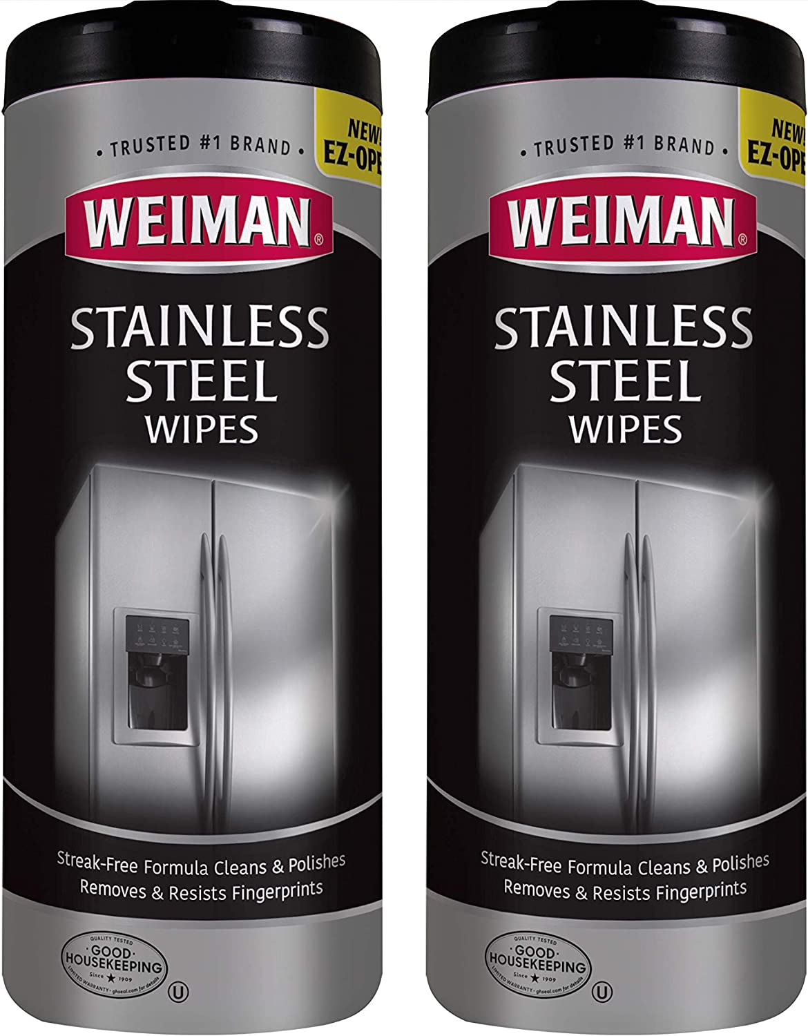 Amazon Com Weiman Stainless Steel Cleaner Wipes 2 Pack Fingerprint Resistant Removes Residue Water Marks And Grease From Appliances Works Great On Refrigerators Dishwashers Ovens And Grills Kitchen Dining